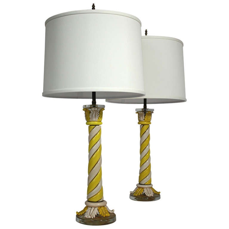 Murano Pair of Table Lamps For Sale