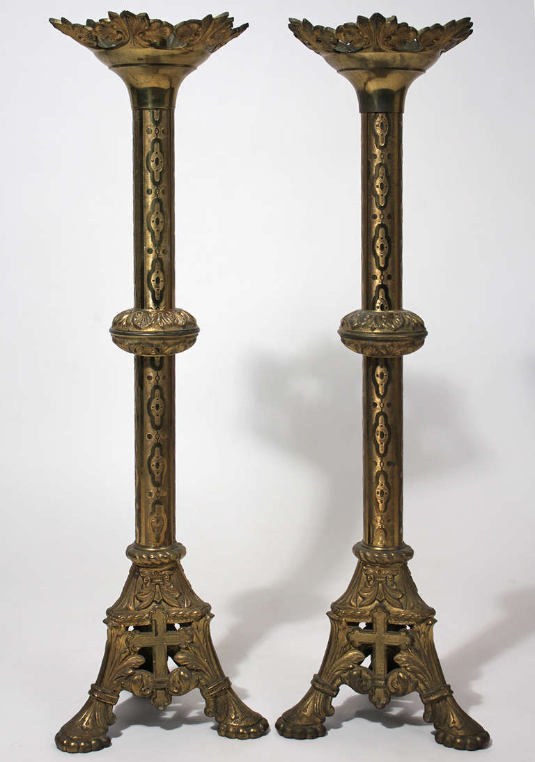 Large Gothic Altar Candlestick Pair Brass At 1stdibs
