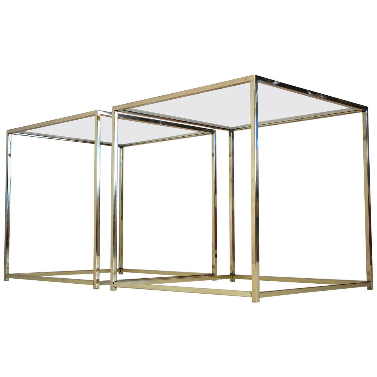 Brass and Glass Cube Side Tables For Sale