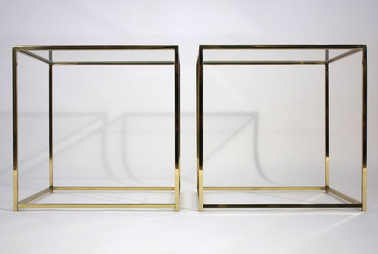 brass and glass cube side tables at 1stdibs