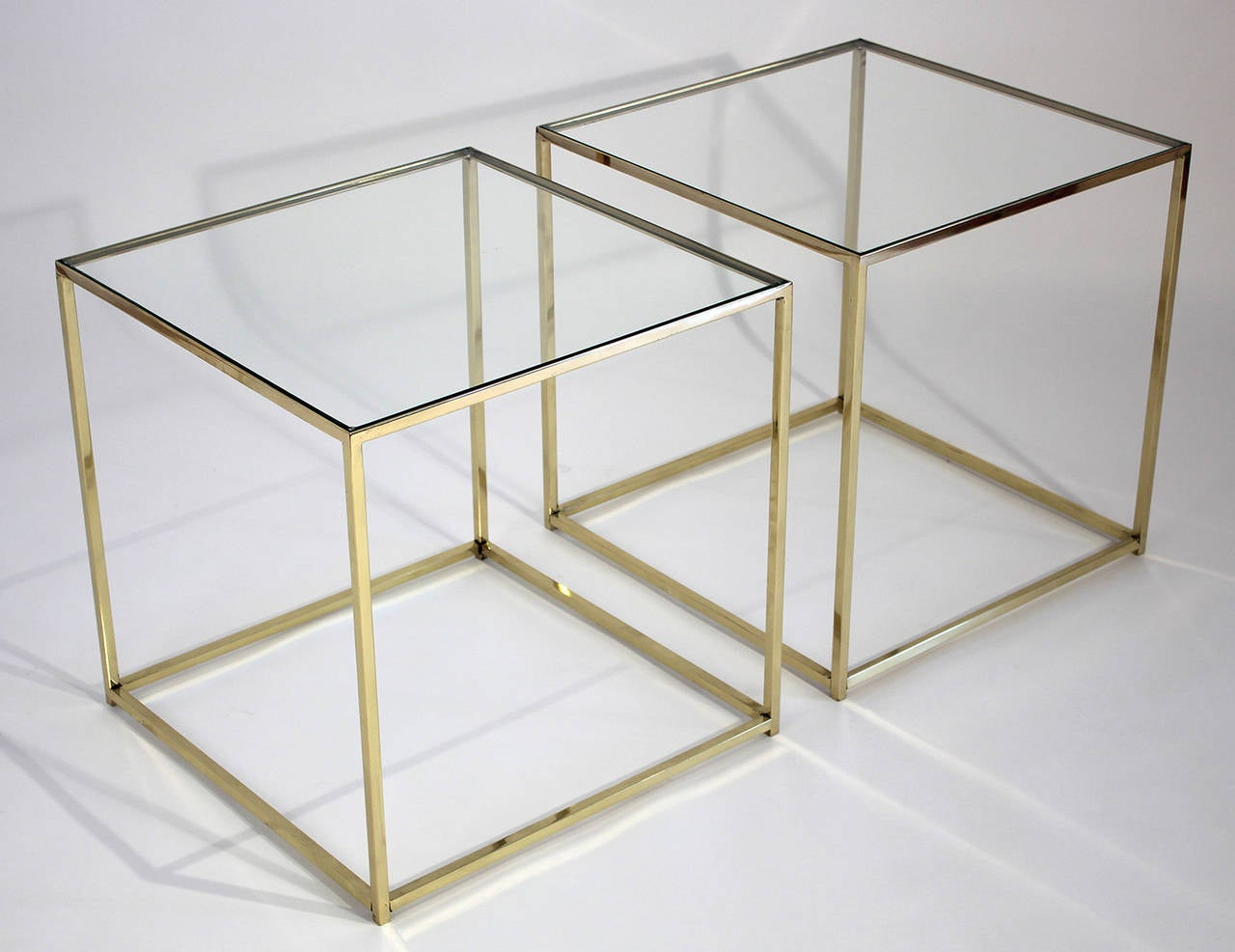 Hollywood Regency Brass and Glass Cube Side Tables For Sale