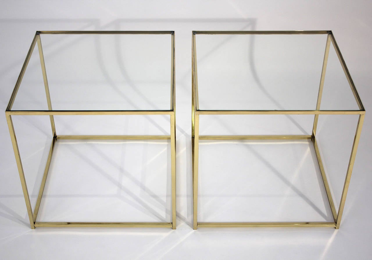American Brass and Glass Cube Side Tables For Sale
