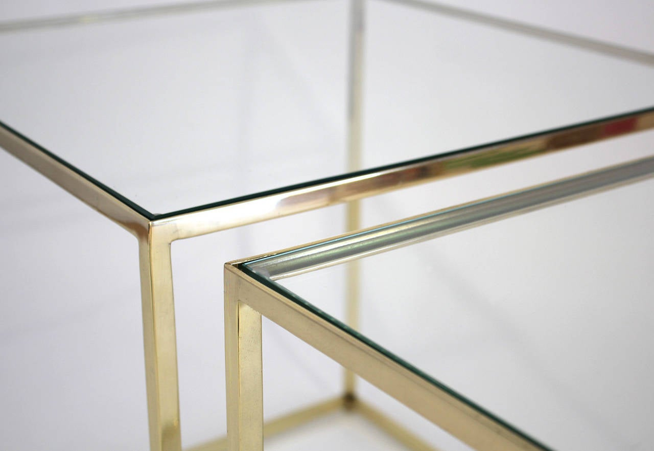 20th Century Brass and Glass Cube Side Tables For Sale