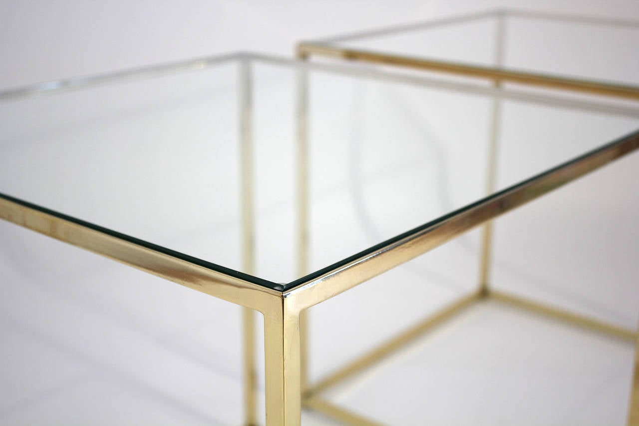 Brass and Glass Cube Side Tables For Sale 1