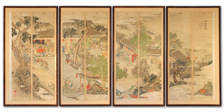 8-Panel Chinese Scroll Painting