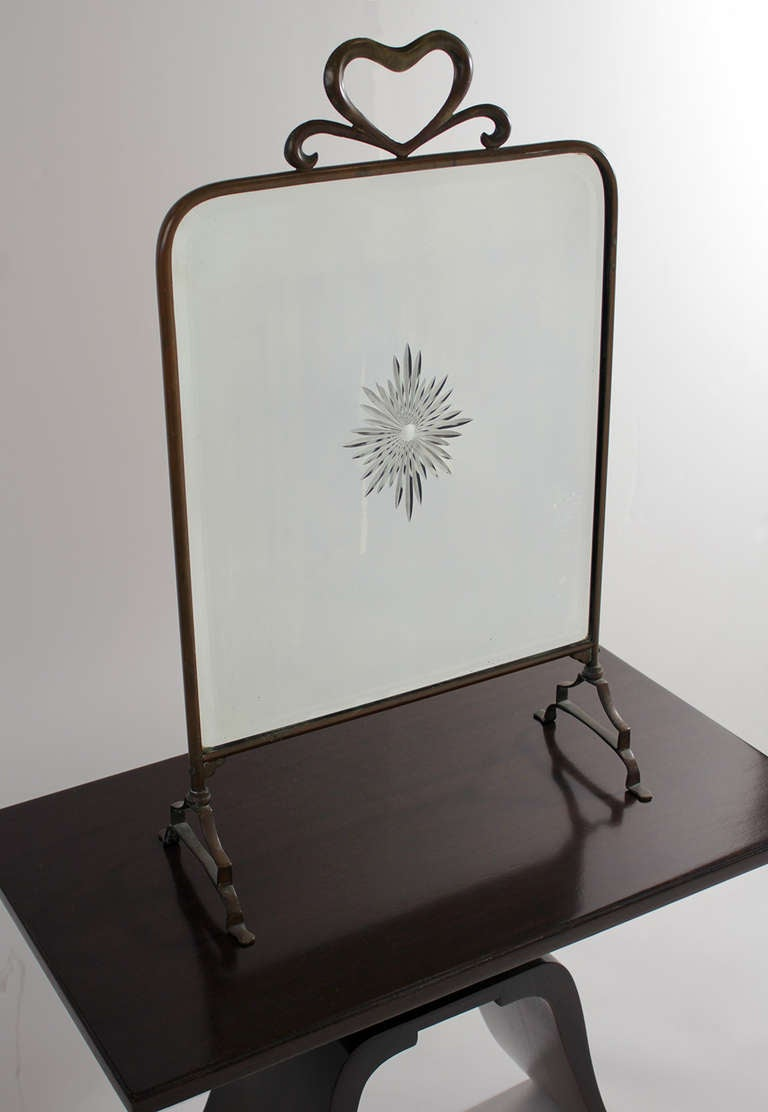 1930 art deco brass fire screen mirror at 1stdibs for Miroir art deco 1930