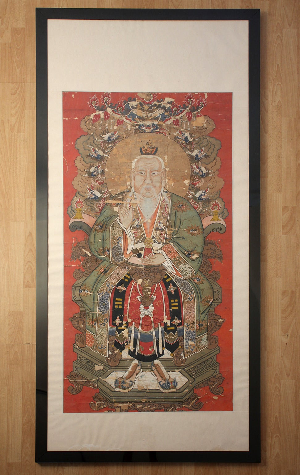Wonderful large antique Chinese Imperial Emperor ancestral painting. Hand-painted original work on paper with age related wear as pictured. Additional images on request. Framed.  Age unknown.  Measure: 81