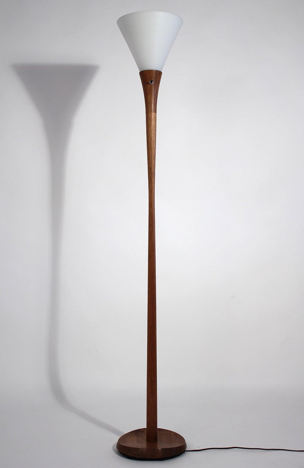 Teak Laurel Torchiere Floor Lamp For Sale At 1stdibs