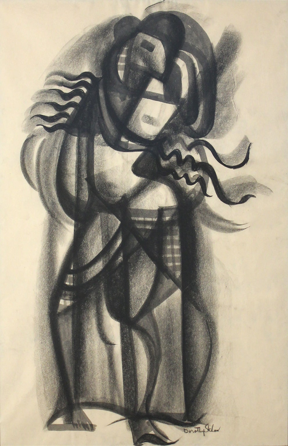 Rare cubist charcoal painting by Dorothy Sklar. Framed. Most likely dating to the 1930s or early 1940s.  Dimensions: 31