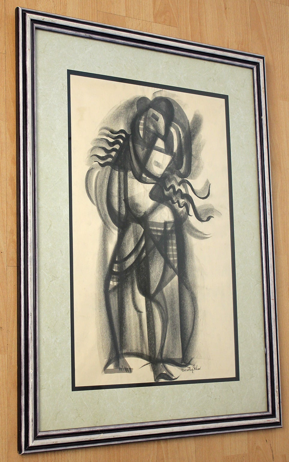 Mid-Century Modern Dorothy Sklar Cubist Charcoal Painting For Sale