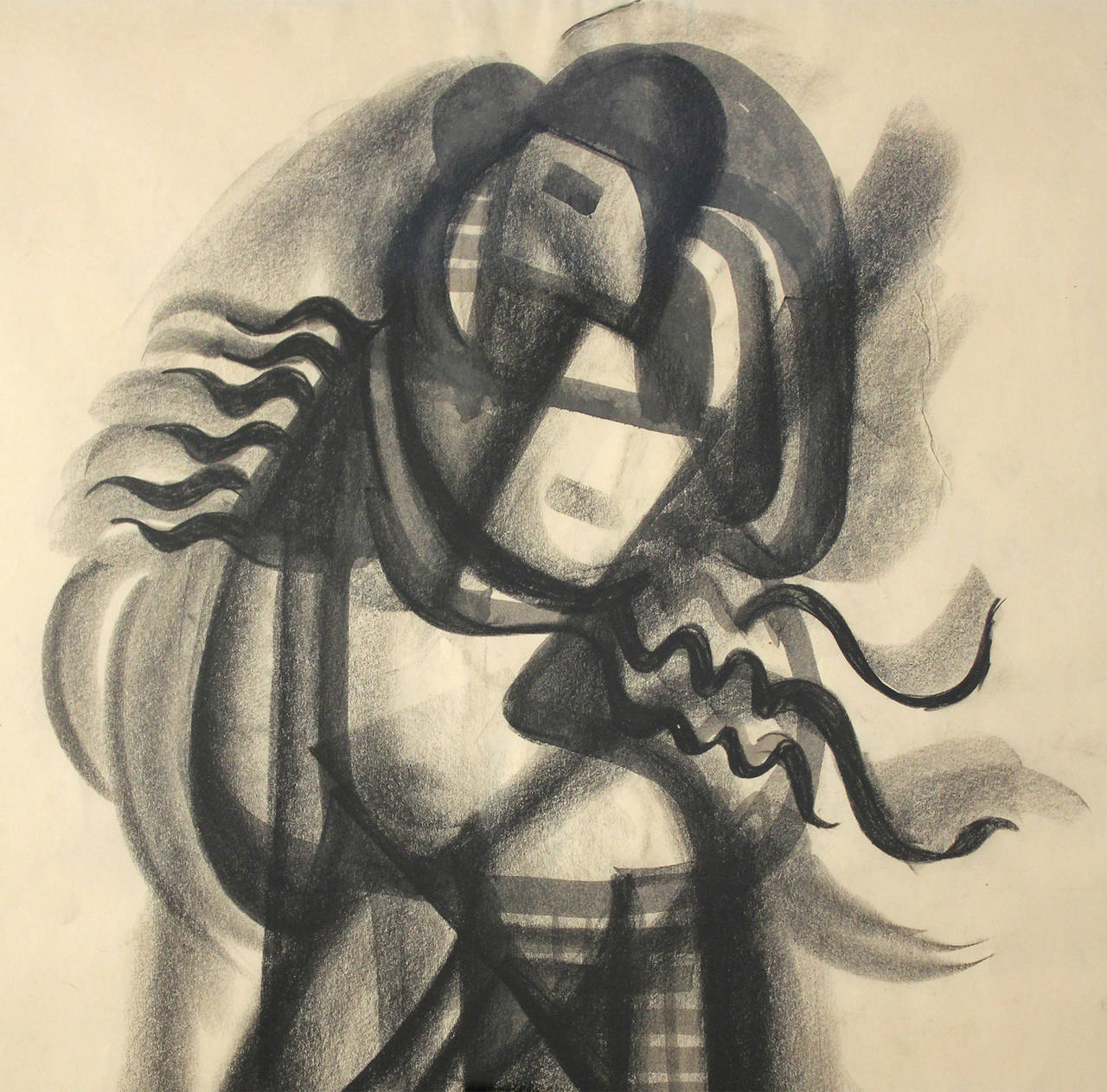 American Dorothy Sklar Cubist Charcoal Painting For Sale