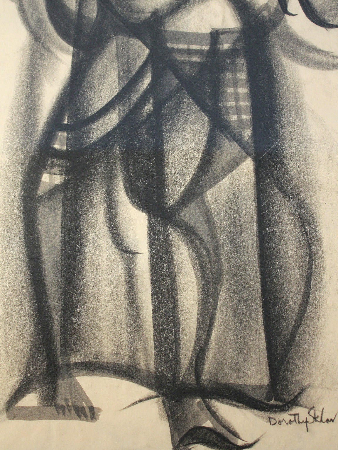 Dorothy Sklar Cubist Charcoal Painting In Excellent Condition For Sale In San Diego, CA