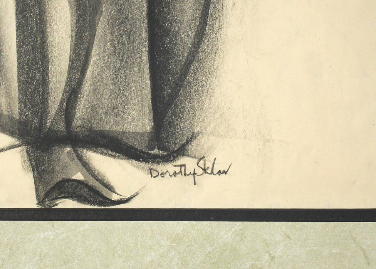 20th Century Dorothy Sklar Cubist Charcoal Painting For Sale