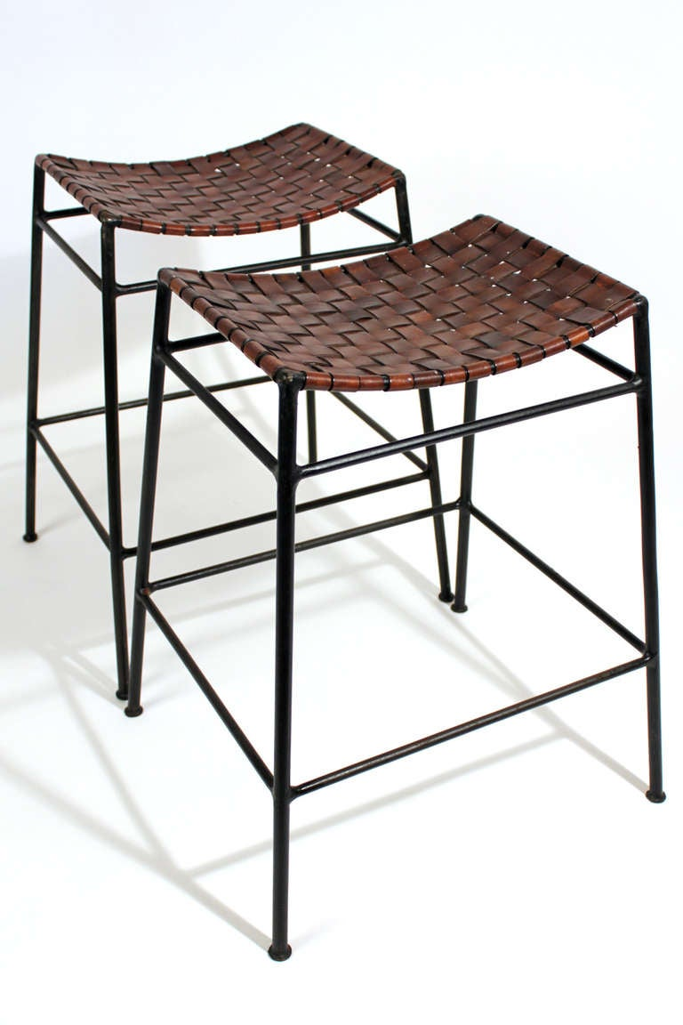 Wrought Iron And Leather Stools At 1stdibs