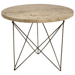 Rene Brancusi Travertine Side Table