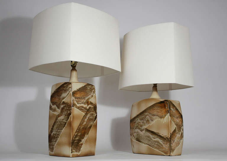 Modern Pair of Ceramic Table Lamps For Sale