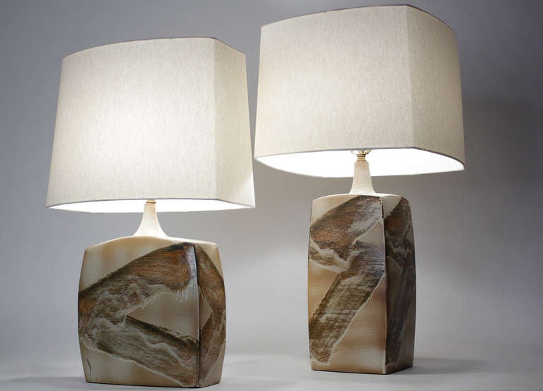 American Pair of Ceramic Table Lamps For Sale