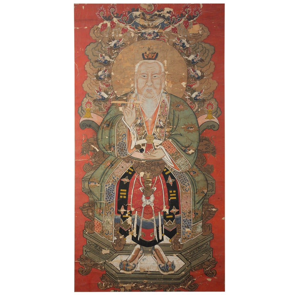Antique Chinese Imperial Emperor Ancestral Painting For Sale