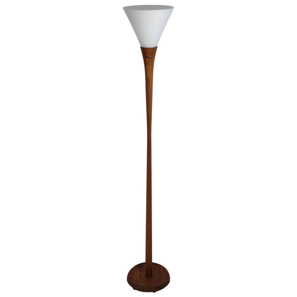 Teak Laurel Torchiere Floor Lamp