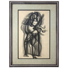 Dorothy Sklar Cubist Charcoal Painting