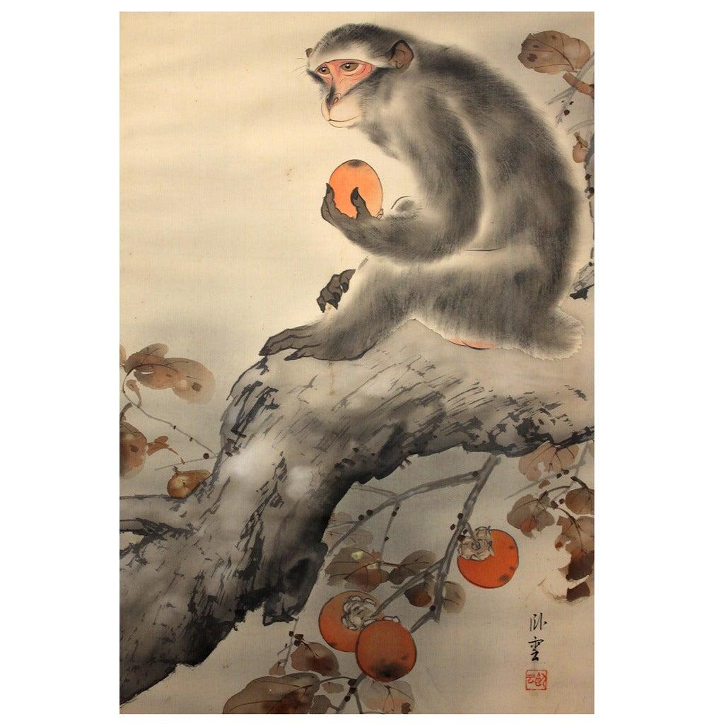 Japanese Meiji Period Monkey Silk Scroll Painting