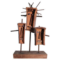 Hal Riegger Ceramic and Steel Figurative Abstract Sculpture