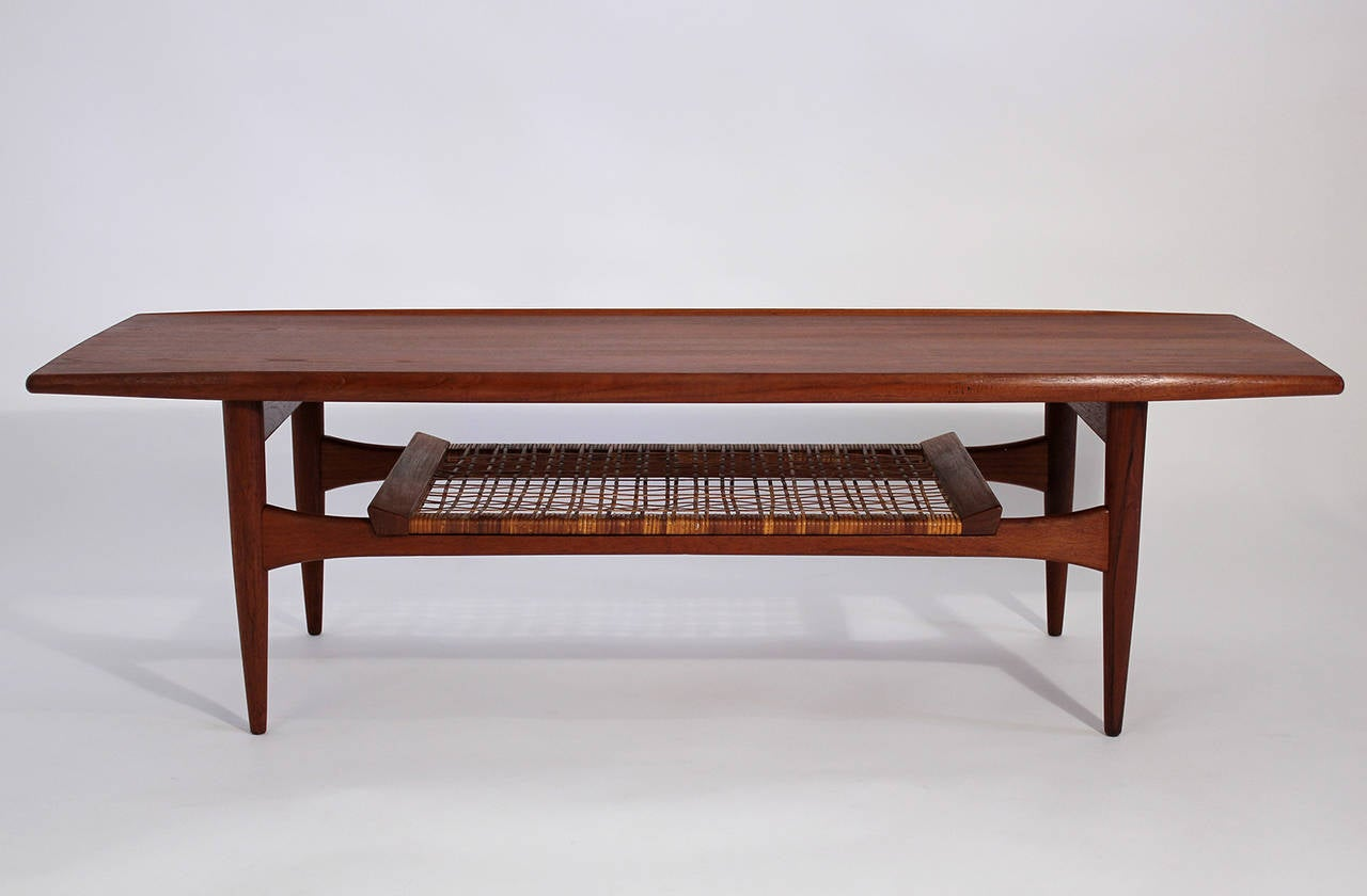 Hans wegner danish modern teak coffee table for sale at for Danish modern coffee table