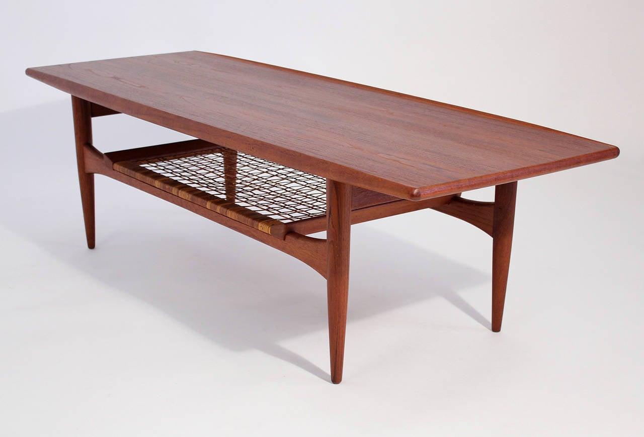 Hans wegner danish modern teak coffee table for sale at for Red modern coffee table