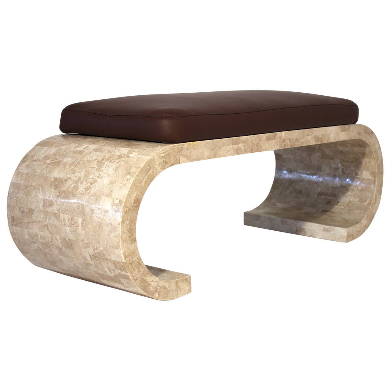 Tessellated Stone Bench With Leather Seat For Sale At 1stdibs