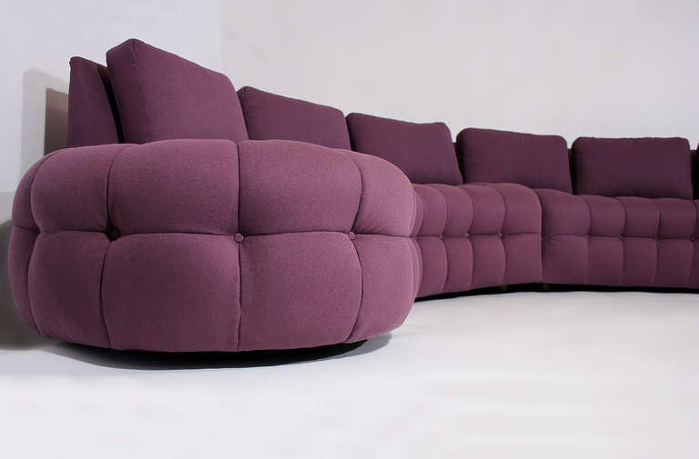 1970s Curved Tufted Sofa Sectional at 1stdibs