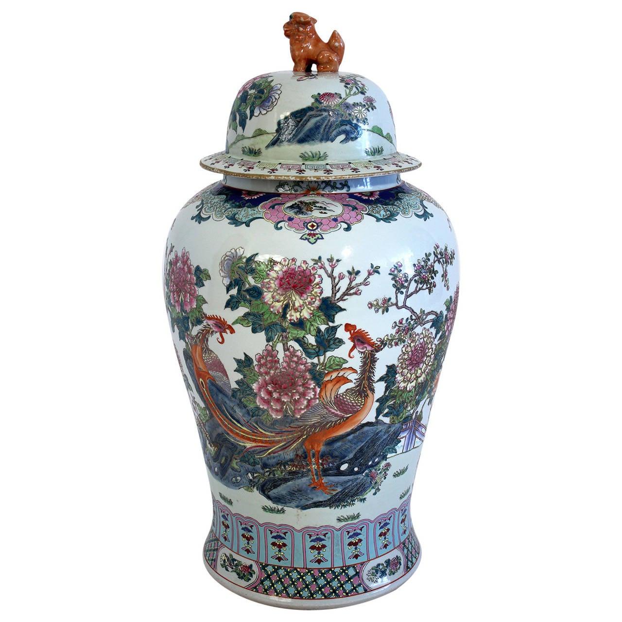 Antique Chinese Lidded Floor Vase For Sale At 1stdibs