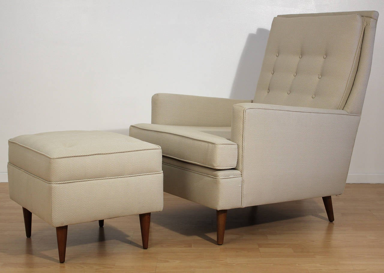Mid Century Modern Lounge Chair and Ottoman Attributed to Paul McCobb at 1stdibs