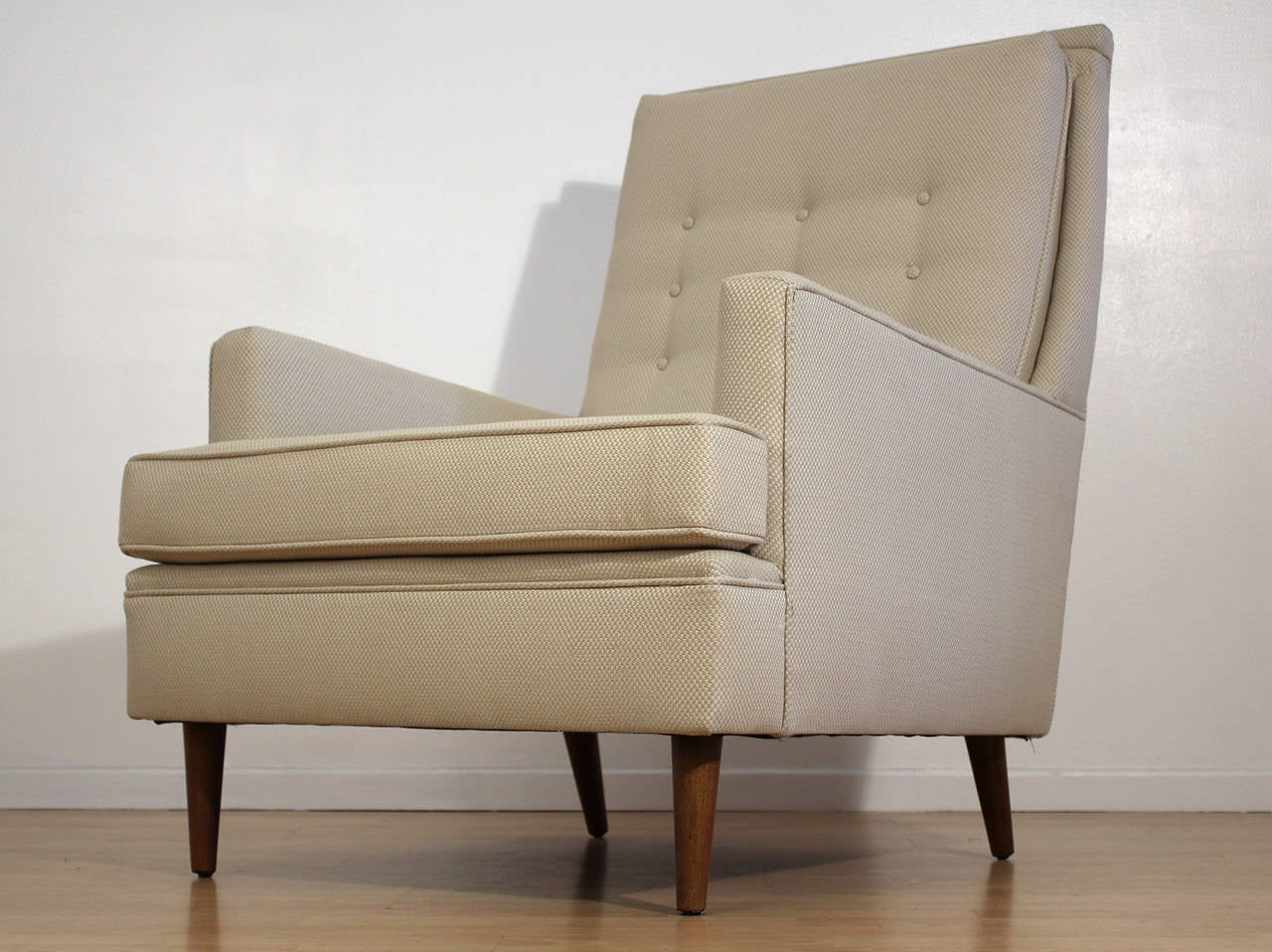 Mid century modern lounge chair and ottoman attributed to paul mccobb
