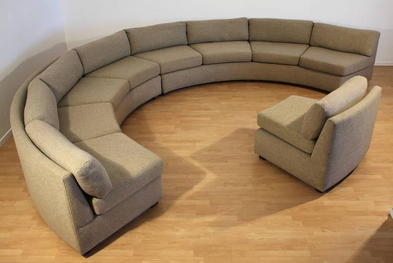 Milo Baughman Large Sectional Curved Sofa At 1stdibs