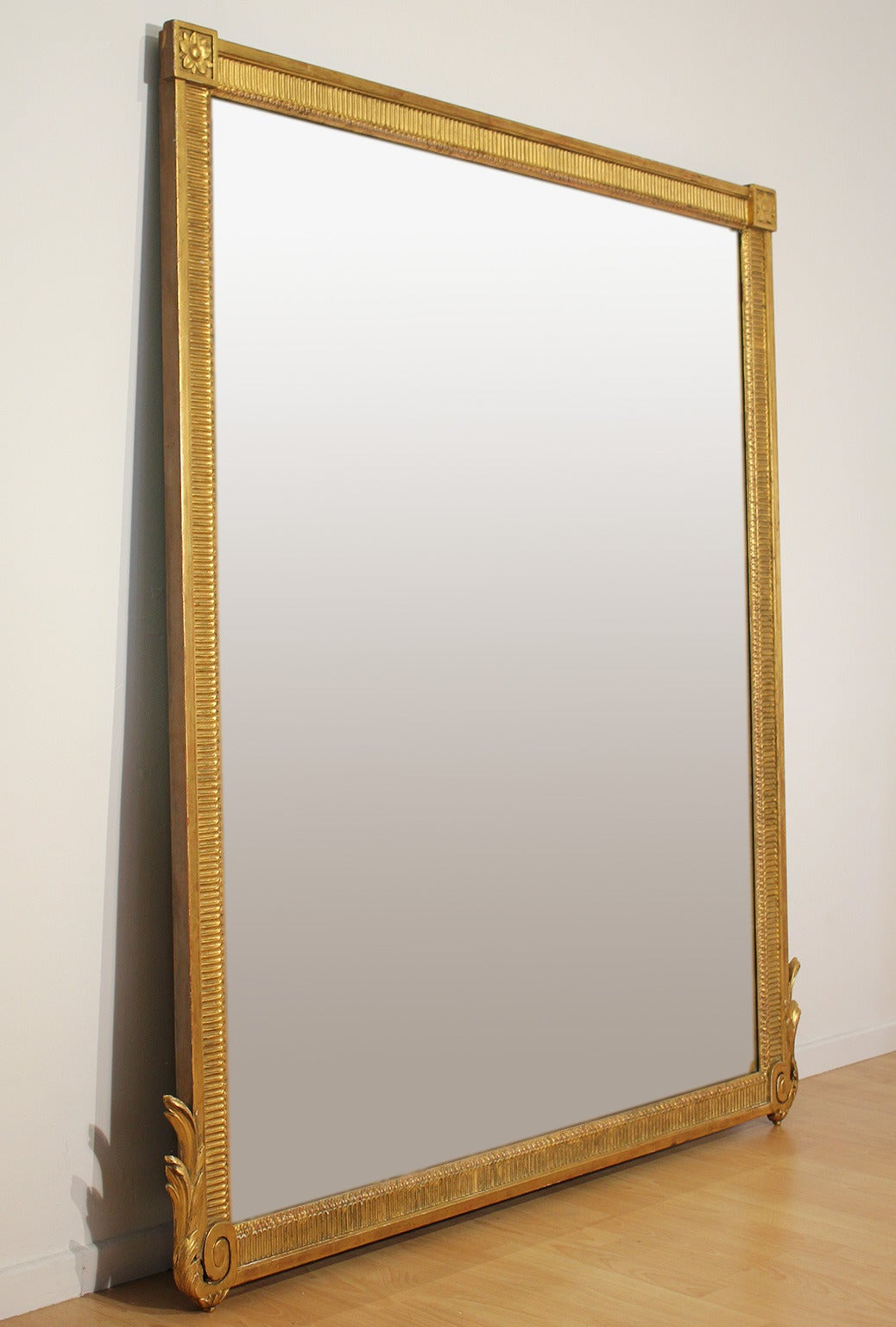 Large antique french neoclassical decorative gold framed for Tall framed mirror