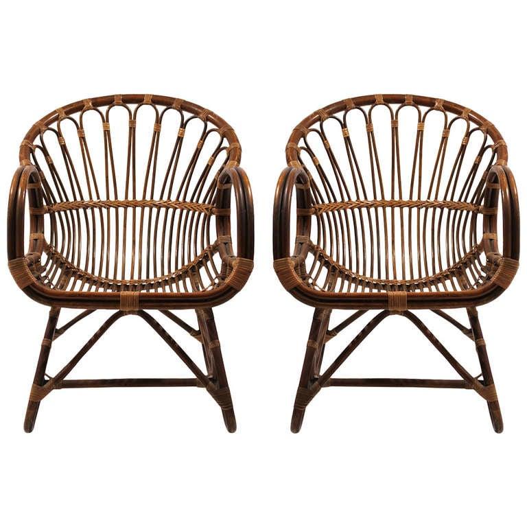 Rattan Lounge Chairs at 1stdibs