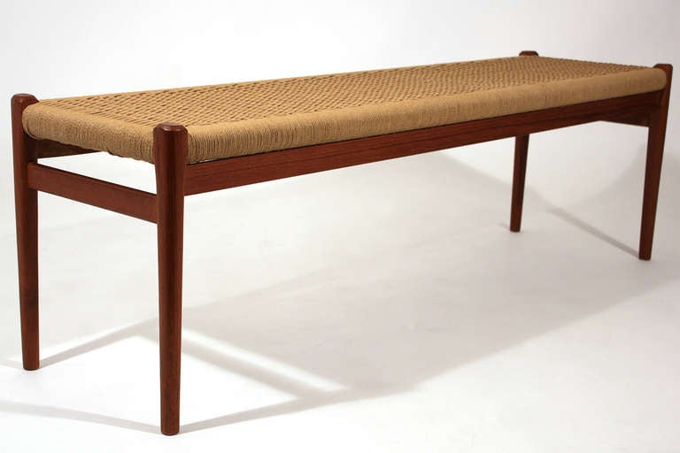 Niels O M Ller Teak Frame And Woven Seat Bench At 1stdibs