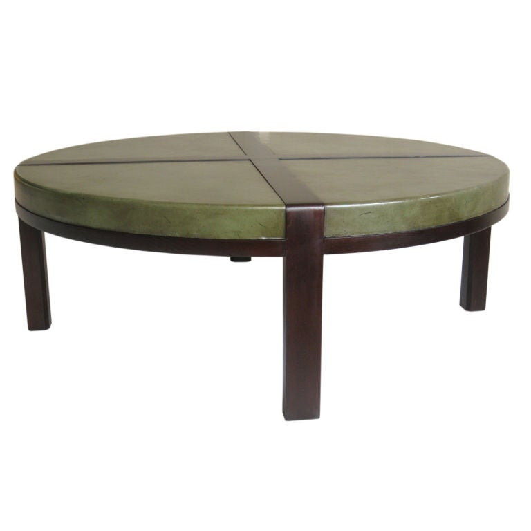 Distressed leather top cocktail table by tommi parzinger at 1stdibs Coffee table with leather top