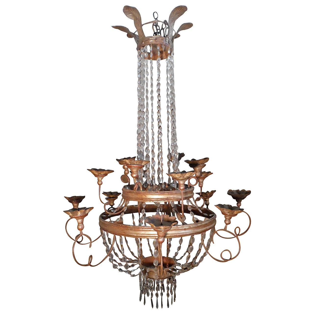 Italian Empire Period Silver Leaf Chandelier at 1stdibs