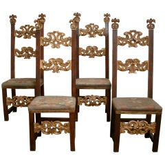 Set of Four 19c Italian Louis XIV Tall Back Gilded Walnut Chairs