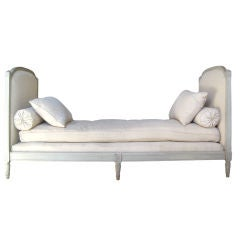 Louis XVI Style Banquette with Antique Linen Tissue with Monogra