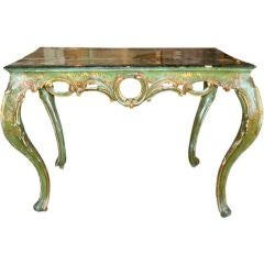 19c Venetian Lacquered Table with Dark Plateau