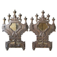 Pair of 18c Tuscan Italian Five-Light Wooden Mirrored Sconces