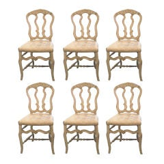 19c Louis XV Painted Set of 6 Chairs