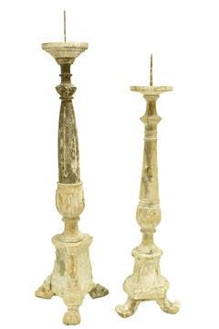 18c Italian Wooden Altar Candlesticks