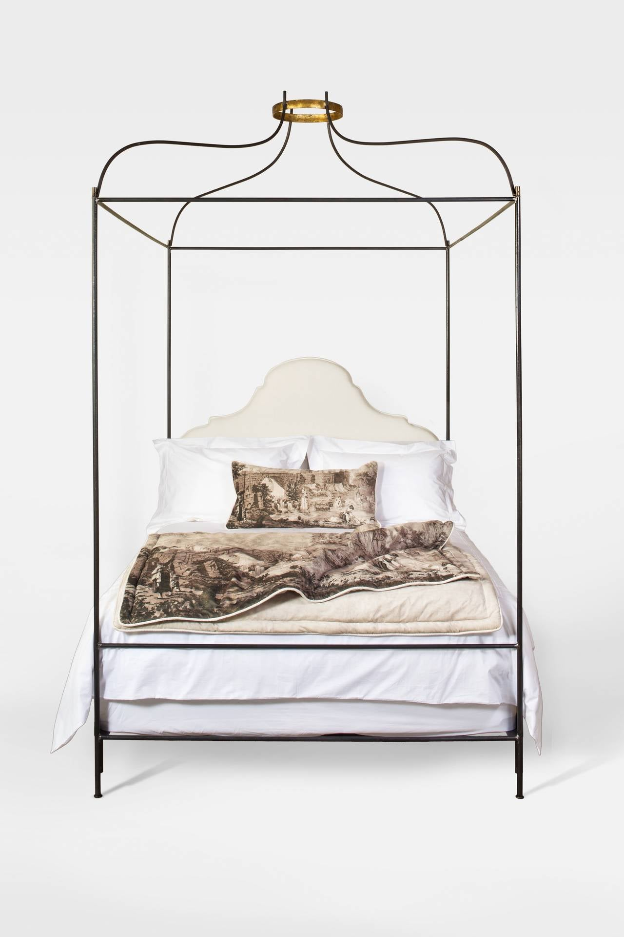 This Iron Venetian Canopy Bed With Upholstered Headboard From The Tara Shaw Maison Collection Is One