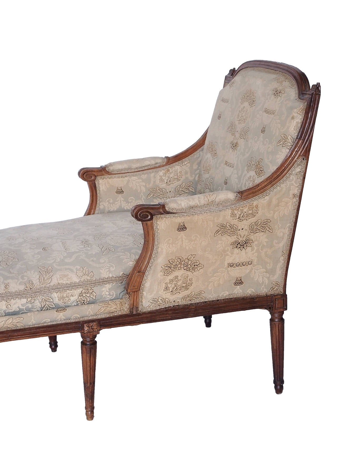 18th 19th century french louis xvi chaise with toile - Changer toile chaise longue ...