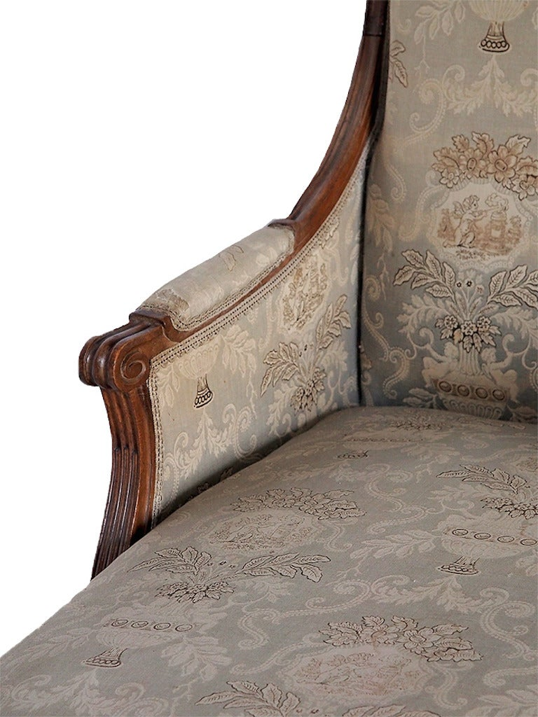 18th 19th century french louis xvi chaise with toile for Toile chaise longue