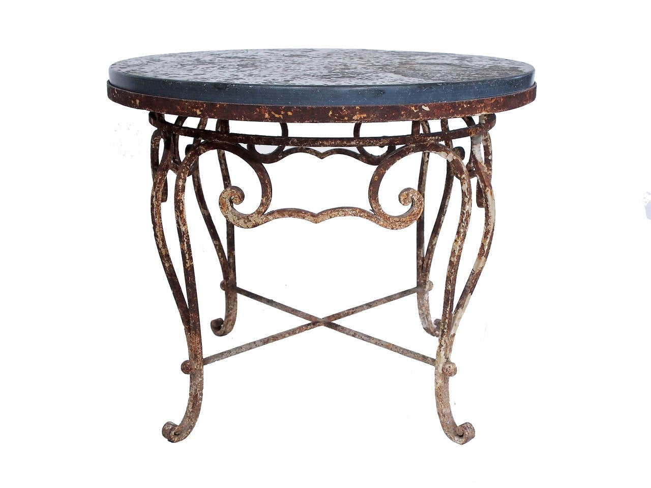 Vintage Iron And Belgian Bluestone Round Table At 1stdibs