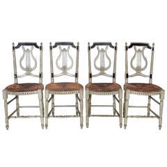 19c Napoleon III Set of 4 Lyre Back Chairs